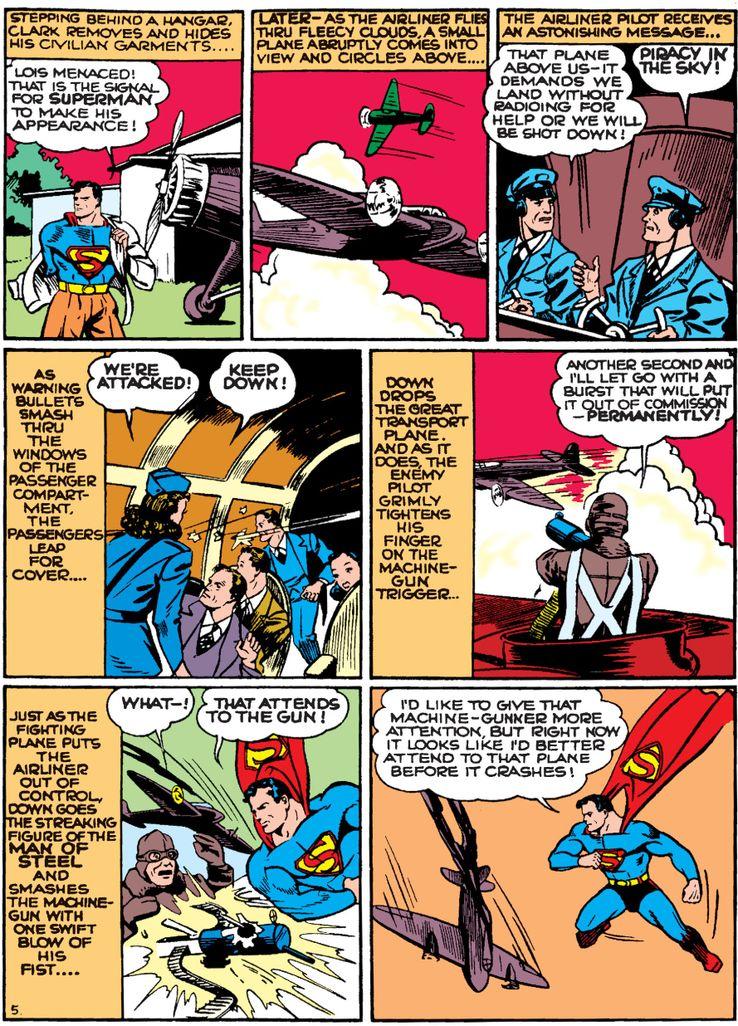 action comics 35 1 - La primera vez que Superman salvó un avión en los cómics
