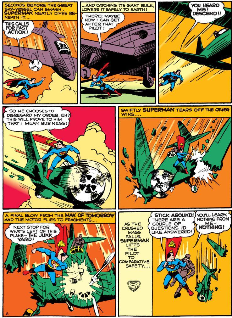 action comics 35 2 - La primera vez que Superman salvó un avión en los cómics