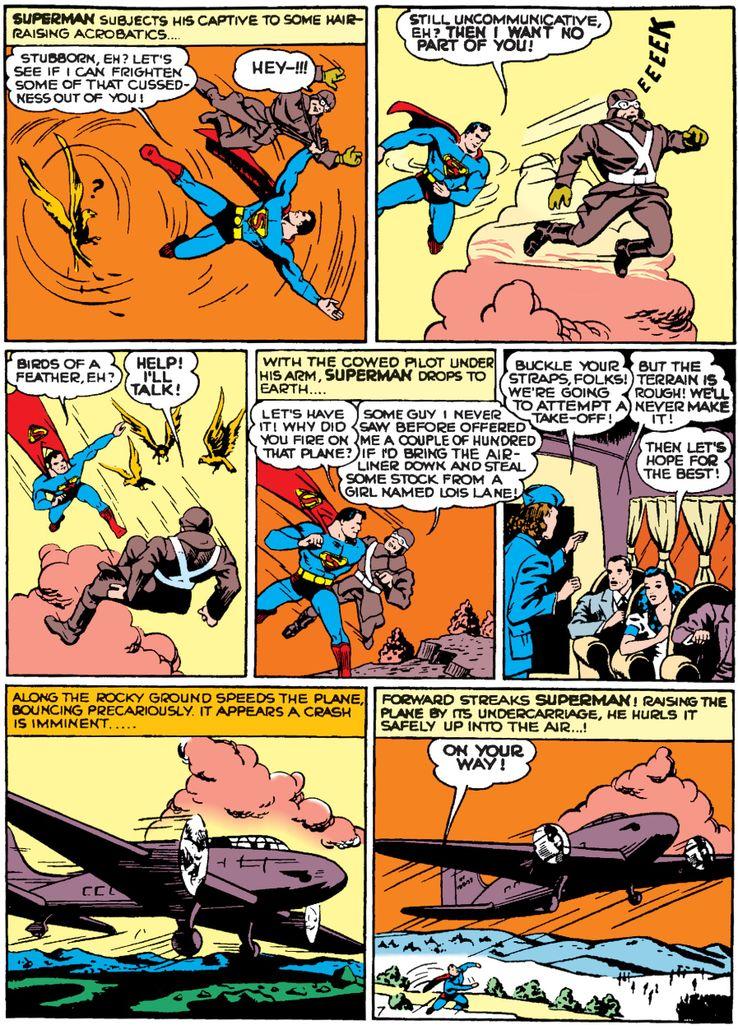 action comics 35 3 - La primera vez que Superman salvó un avión en los cómics