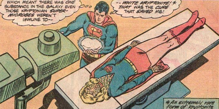 Superman using the White Kryptonite on Supergirl from DC comics - Los 10 tipos más mortales de kryptonita