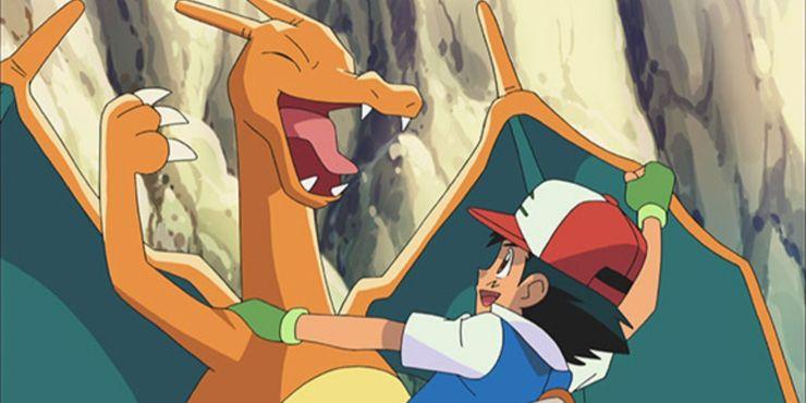 Anime Pokemon Ash abraza a su Charizard