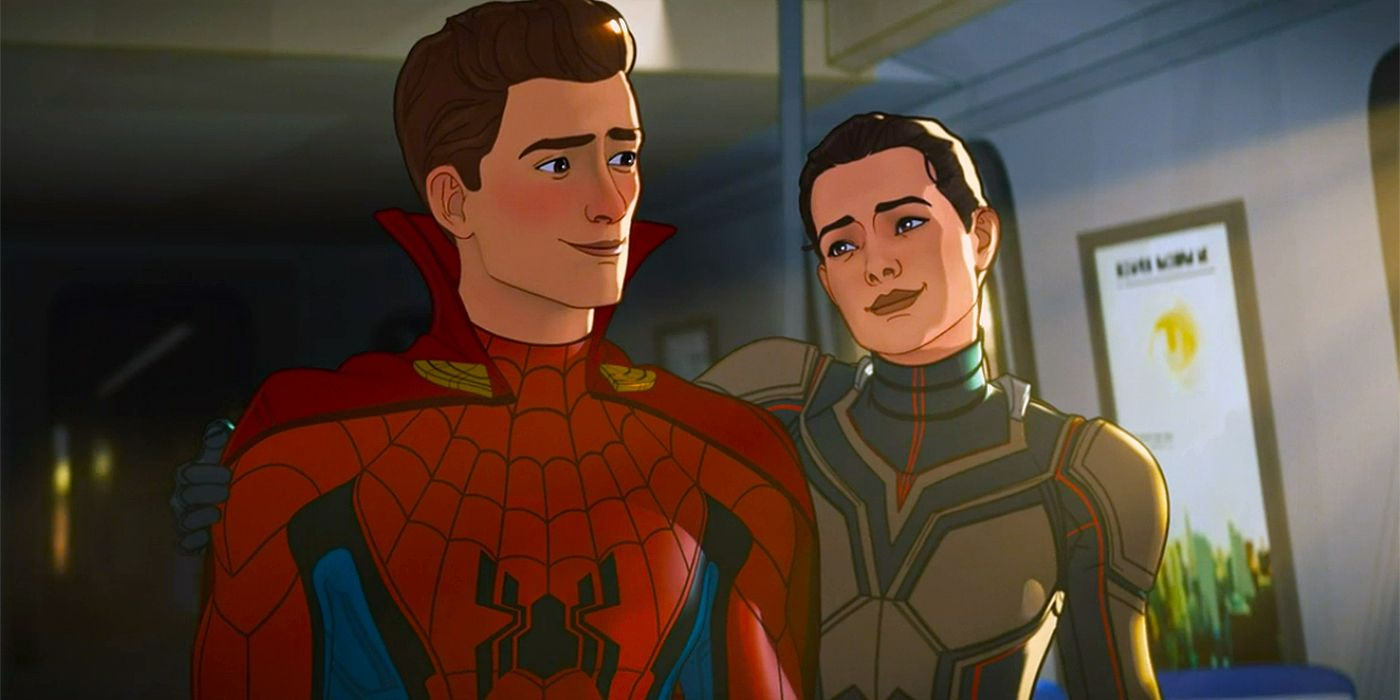 """Spider-Man (Hudson Thames) and Hope Van Dyke (Evangeline Lily) in Marvel's """"What If...?"""""""
