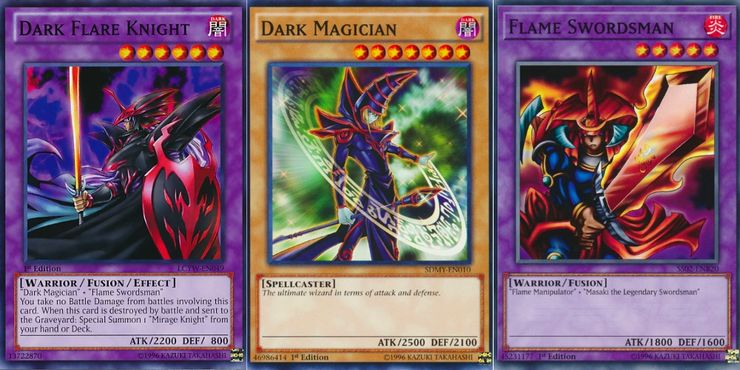 Dark Flare Knight, Flame Swordsman, and Dark Magician Yugioh